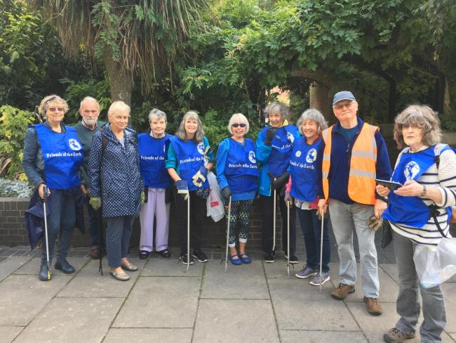 Friends of the Earth volunteers clear litter in Bromley town centre