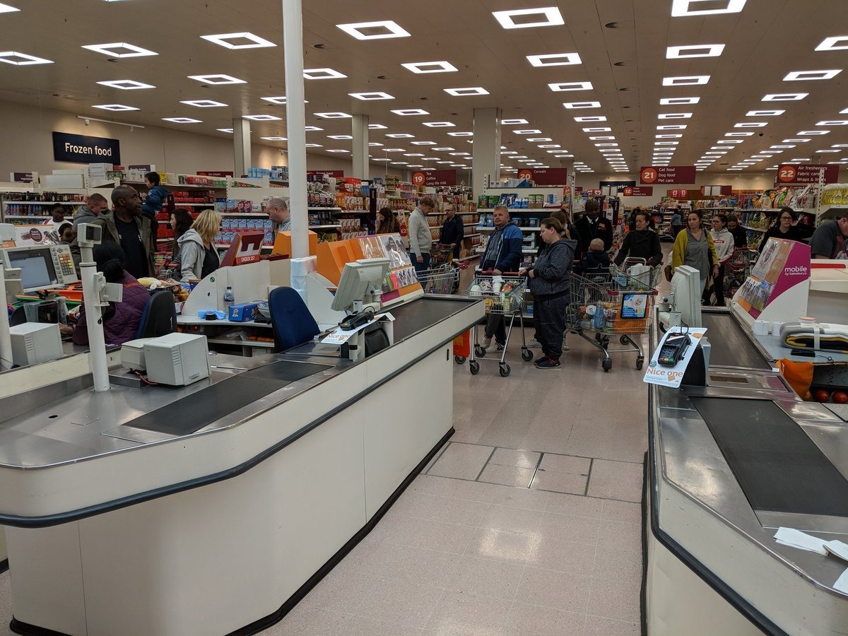 Long queues in Sainsbury's Sydenham (Photo - Neale Graham)