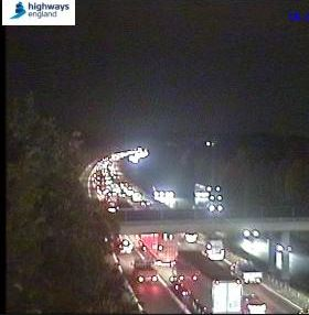 Heavy traffic on M25 following an earlier broken down vehicle