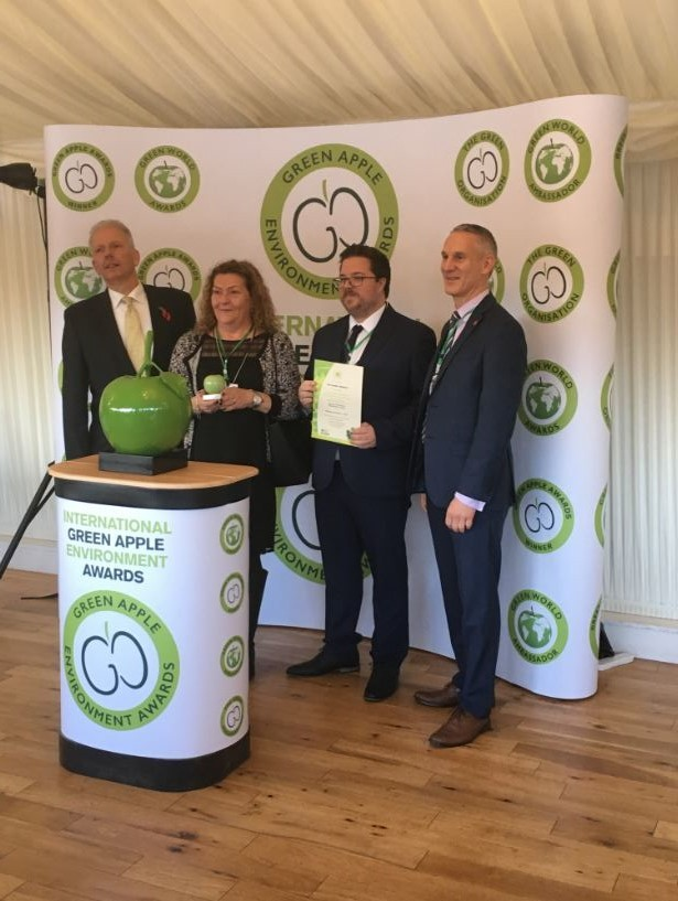Mark Haynes, director of The Glades, right, with Mark Hodge, guest service manager and Heather Dixon, cleaning supervisor at the shopping centre, being presented with the Green Apple Award for Environmental Best Practice 2018.