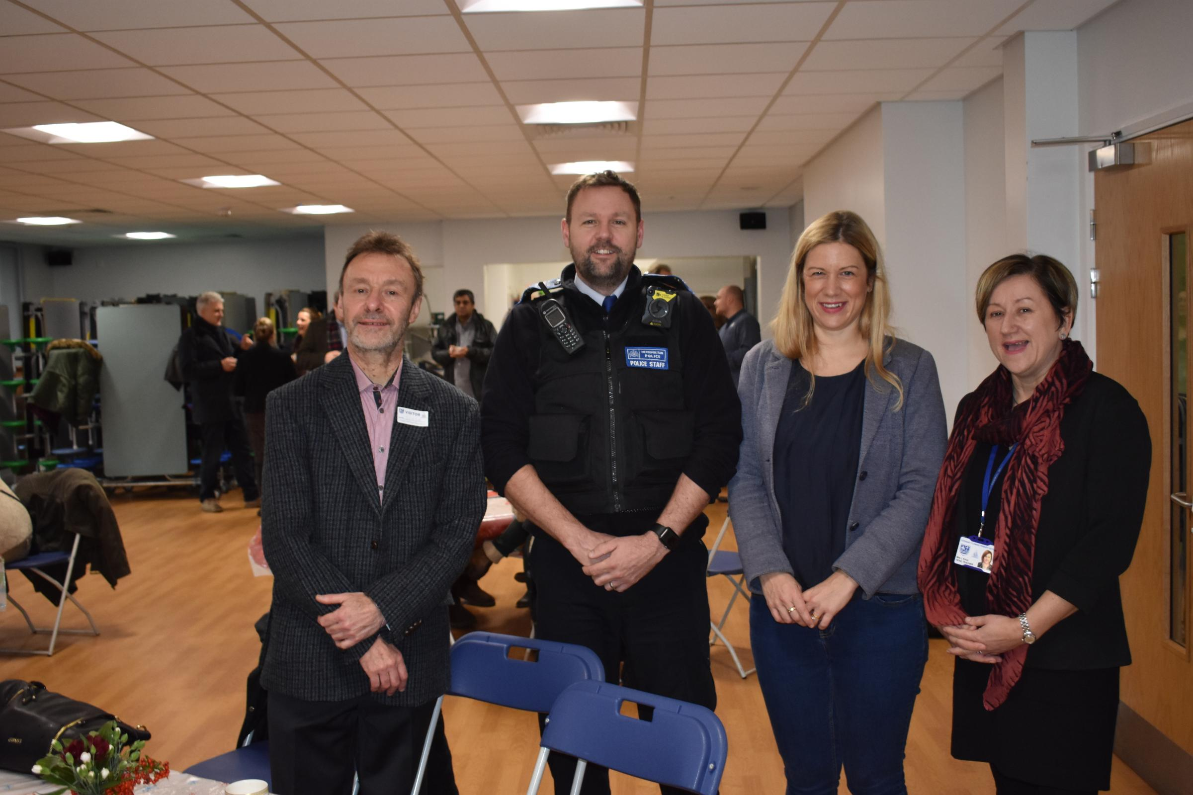 Cllr Ian Dunn, police officer, MP Ellie Reeves and head teacher Louise Knox