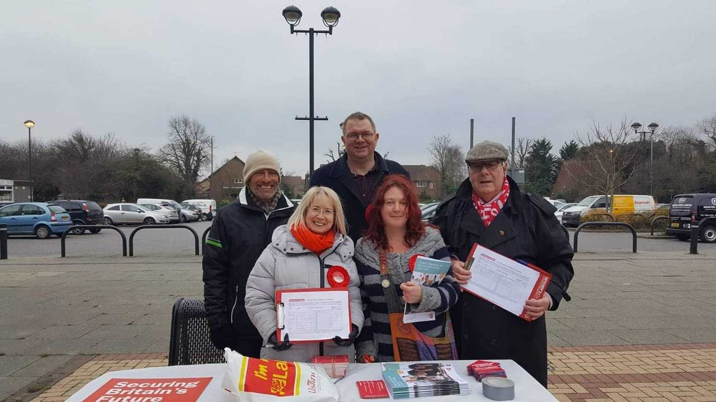 Dartford Labour councillors outside Temple Hill library asking visitors to sign their petition