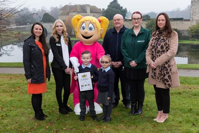 Sophie Richardson and Freddie Murrell of Peareswood Primary at Leeds Castle with representatives of Walk to School supporter organisations