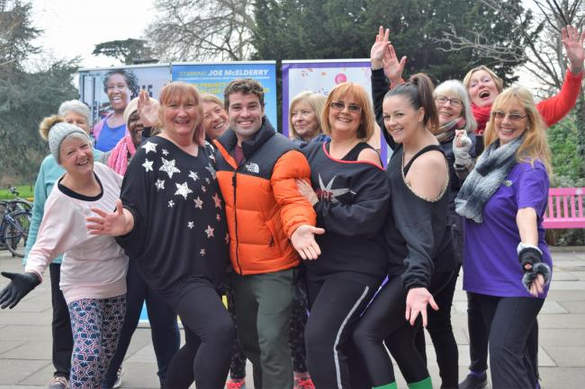 Joe McElderry with Mytime Active members ahead of the Club Tropicana musical coming to Bromley