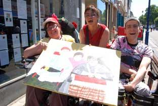Disabled artists Lisa Baldwin, Anne Kitchener and Paul Kitchener display their self portrait