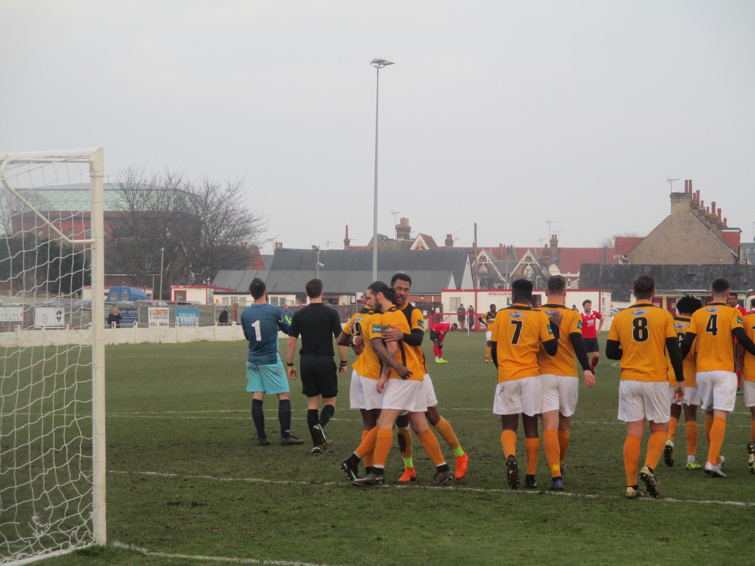 Cray Wanderers celebrate Junior Dadson putting Cray 2-1 up at Ramsgate