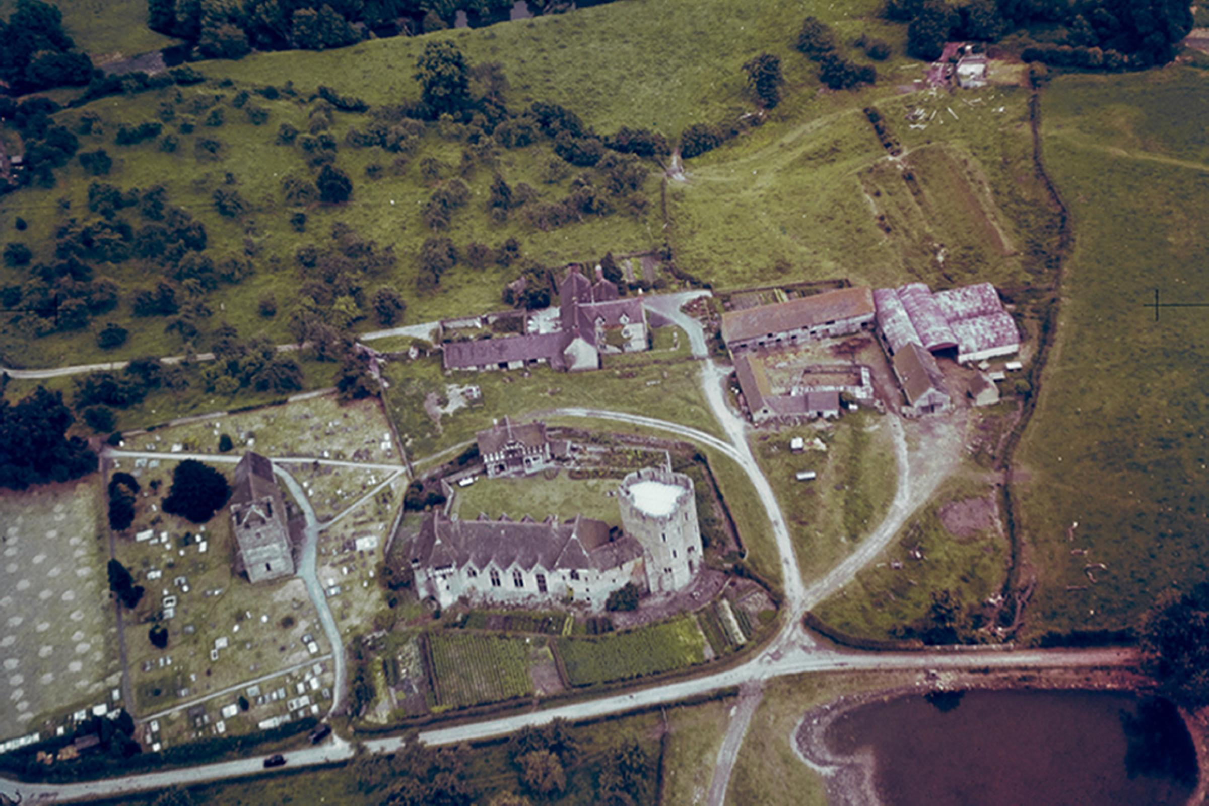Aerial photograph of Stokesay Castle, Shropshire