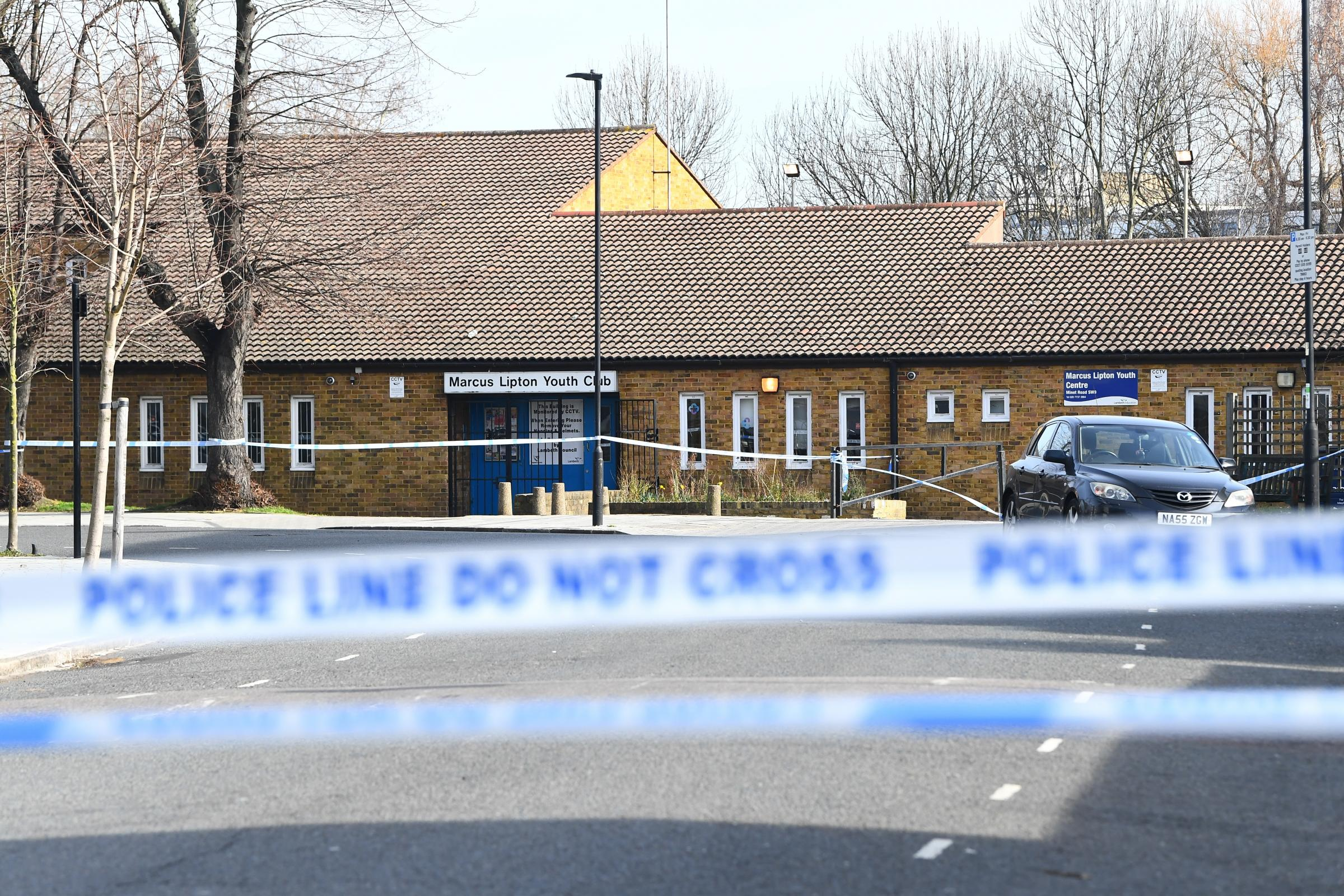 A police cordon outside the Marcus Lipton youth centre