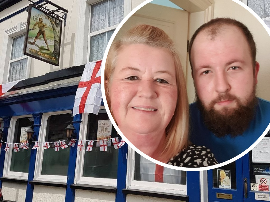 Toni Gilham, 47, with son Jake who helped run the failing pub after dad Rob passed away in 2014