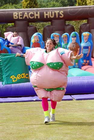 News Shopper: Lisa Clark of the Disco Divas team takes part in the It's A Knockout Competition. BR14174