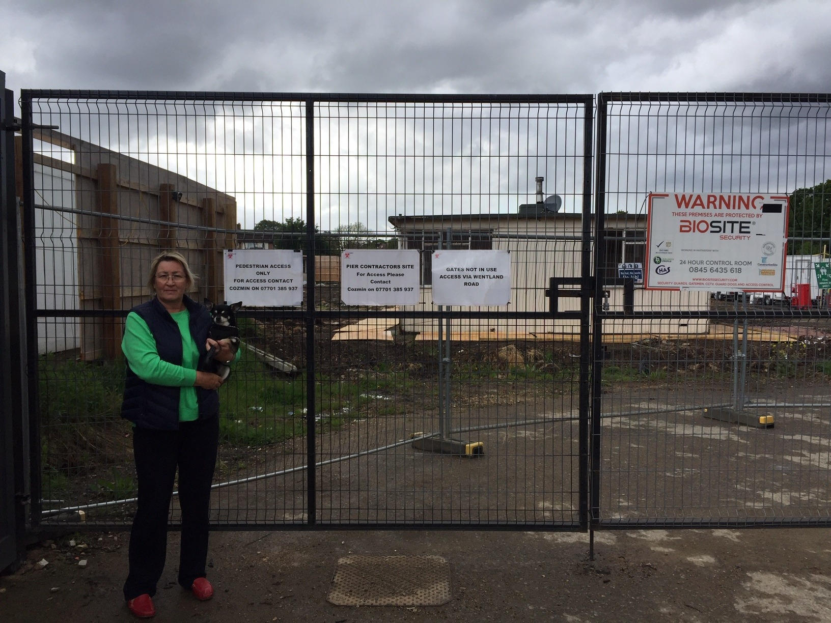 Lorraine Pearmain, 62, in front of the building site where her family home is being demolished.