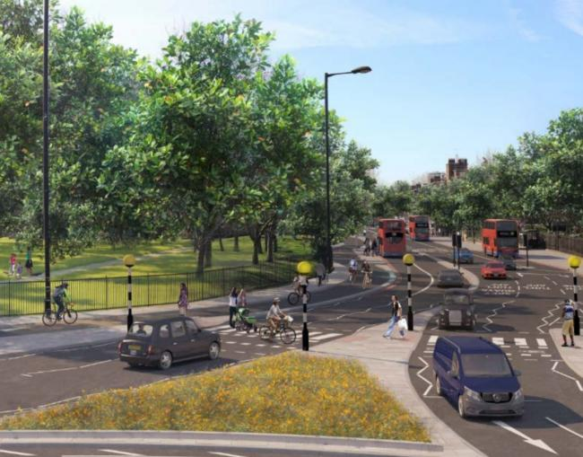 The supercycle highway will end in Deptford. Pic: TfL