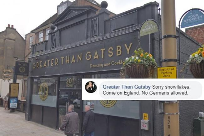The bar's Facebook post has caused controversy