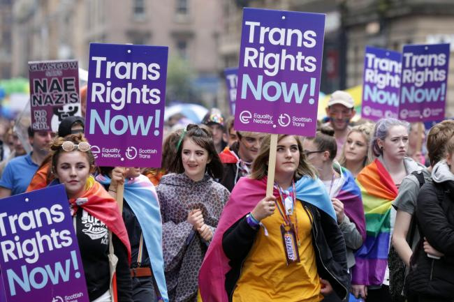 Trans rights campaigners at Pride march