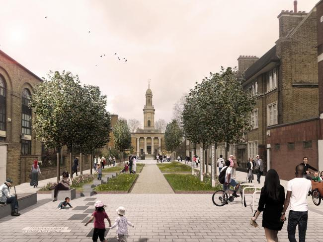 An illustration of what improvements could be made in Liverpool Grove. Credit: Southwark Council