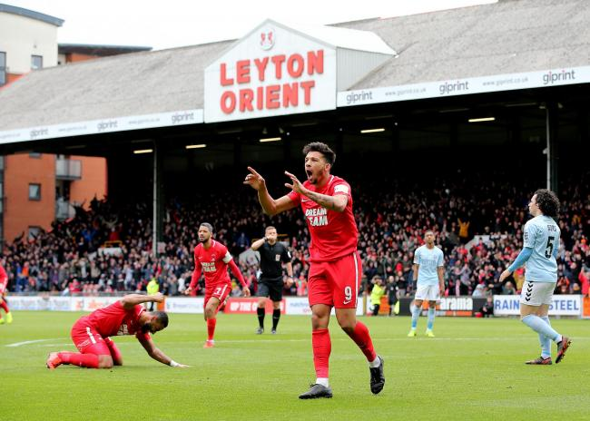 Leyton Orient's Macauley Bonne reacts after his goal is ruled offside during the Vanarama National League match at the Breyer Group Stadium, London.